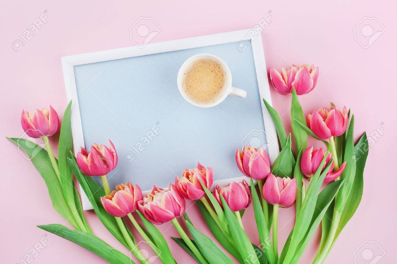 Beautiful breakfast with cup of coffee spring tulip flowers stock beautiful breakfast with cup of coffee spring tulip flowers and frame for good morning on izmirmasajfo