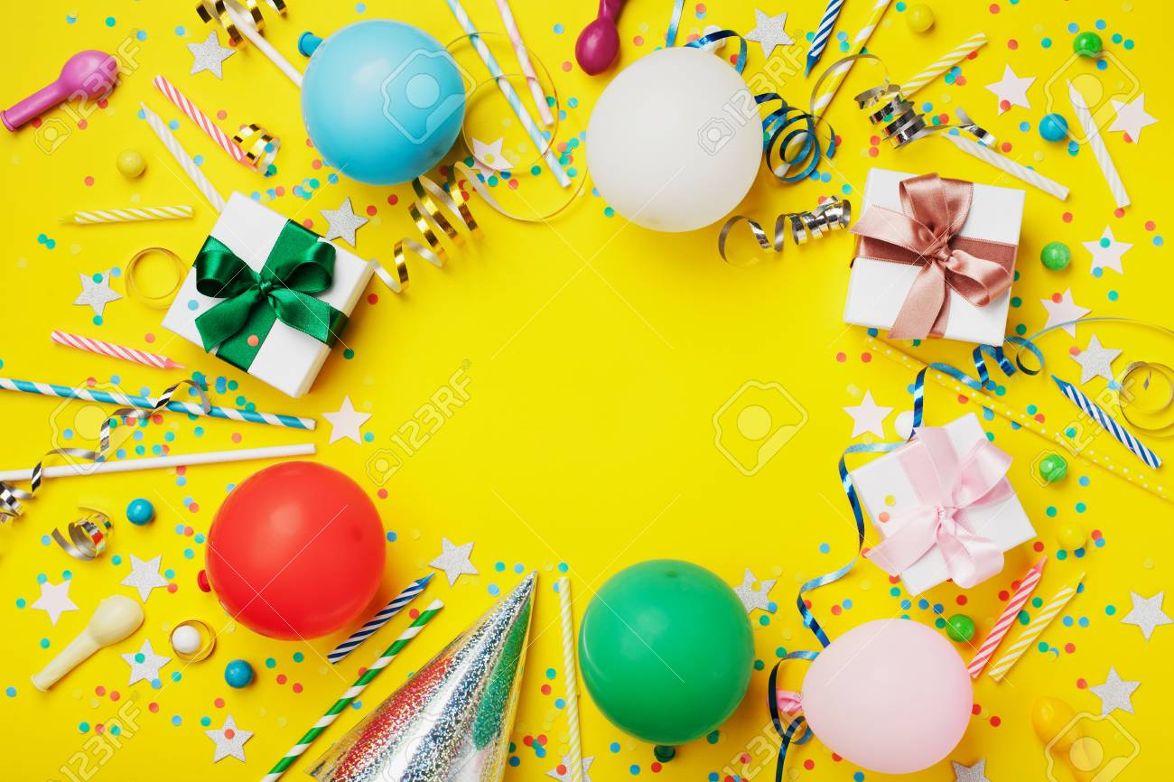 Birthday Party Background Or Frame With Colorful Balloon Gift Stock Photo Picture And Royalty Free Image Image 83573140