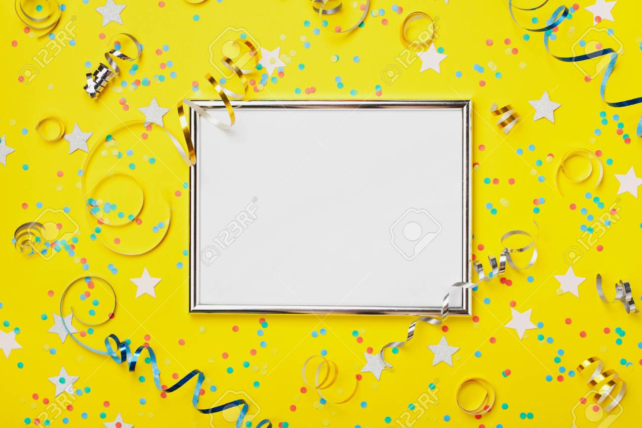 Party Carnival Or Birthday Background Decorated Silver Frame With