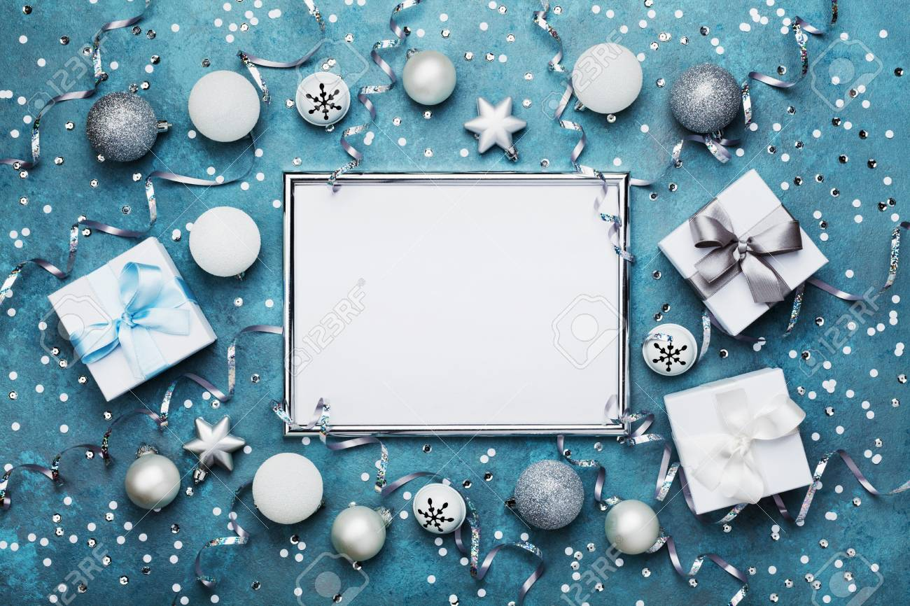 Magic Christmas Background. Frame With Xmas Decoration, Gift.. Stock ...