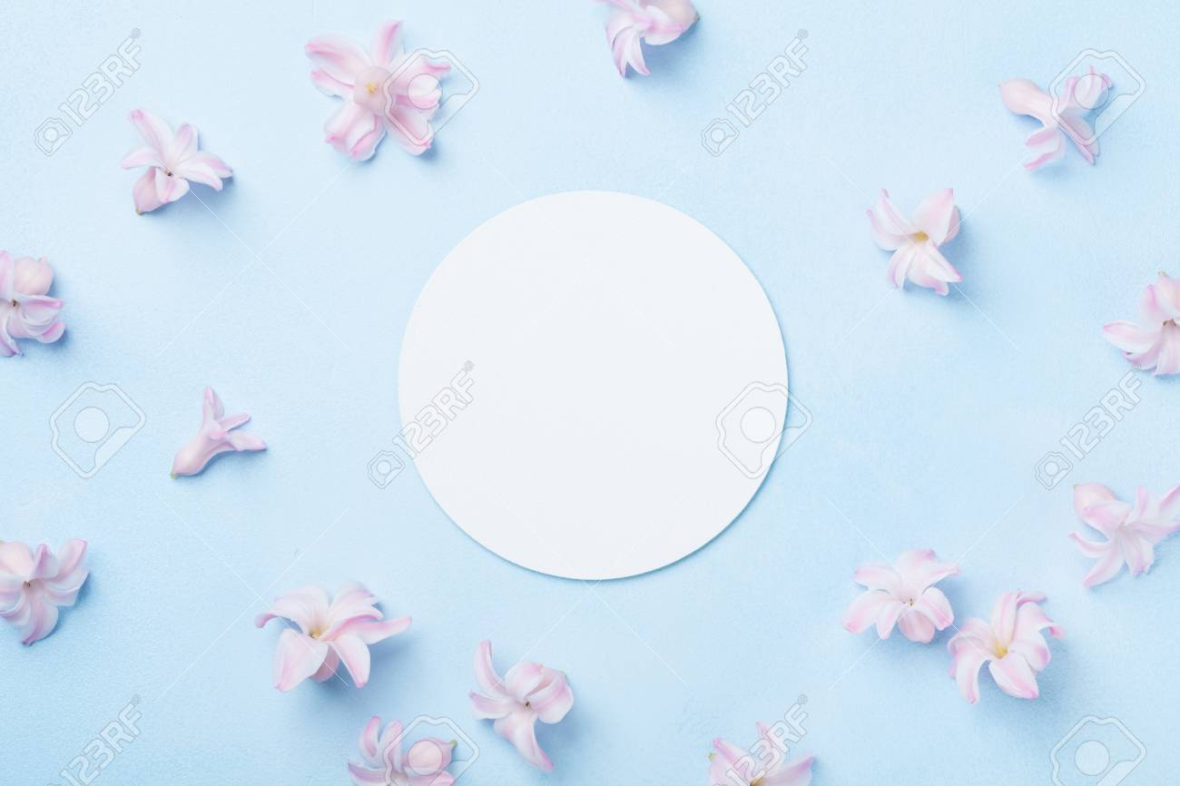 Wedding mockup with white paper list and pink flowers on blue stock photo wedding mockup with white paper list and pink flowers on blue table from above beautiful floral pattern flat lay style mightylinksfo