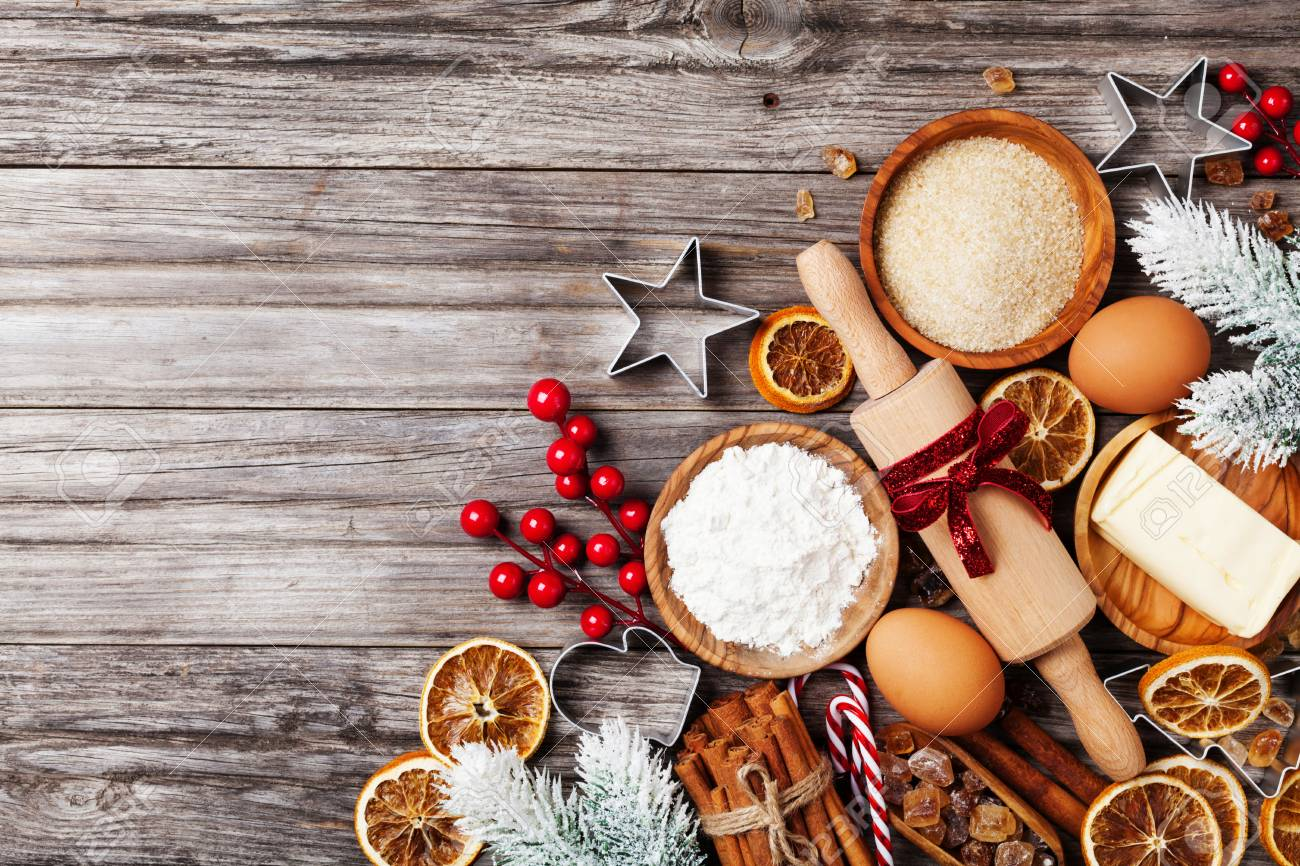 Christmas Baking.Bakery Background With Ingredients For Cooking Christmas Baking