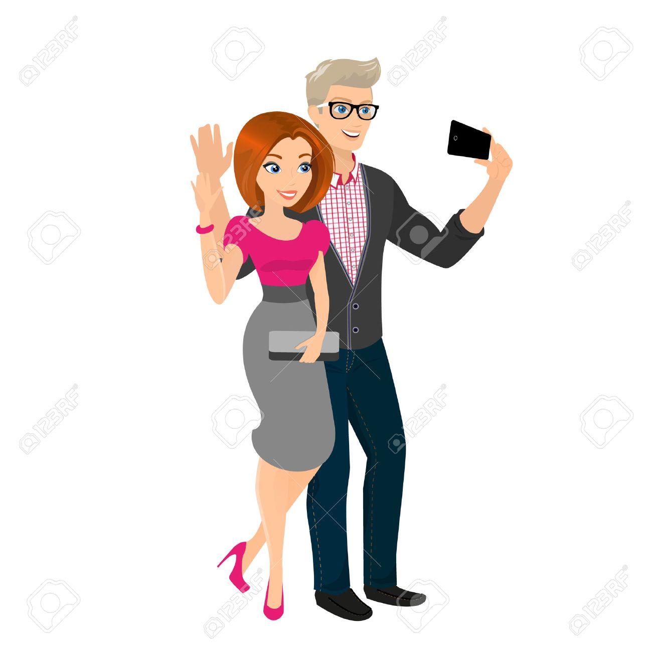 Resultado de imagem para selfie of happy couple, clipart