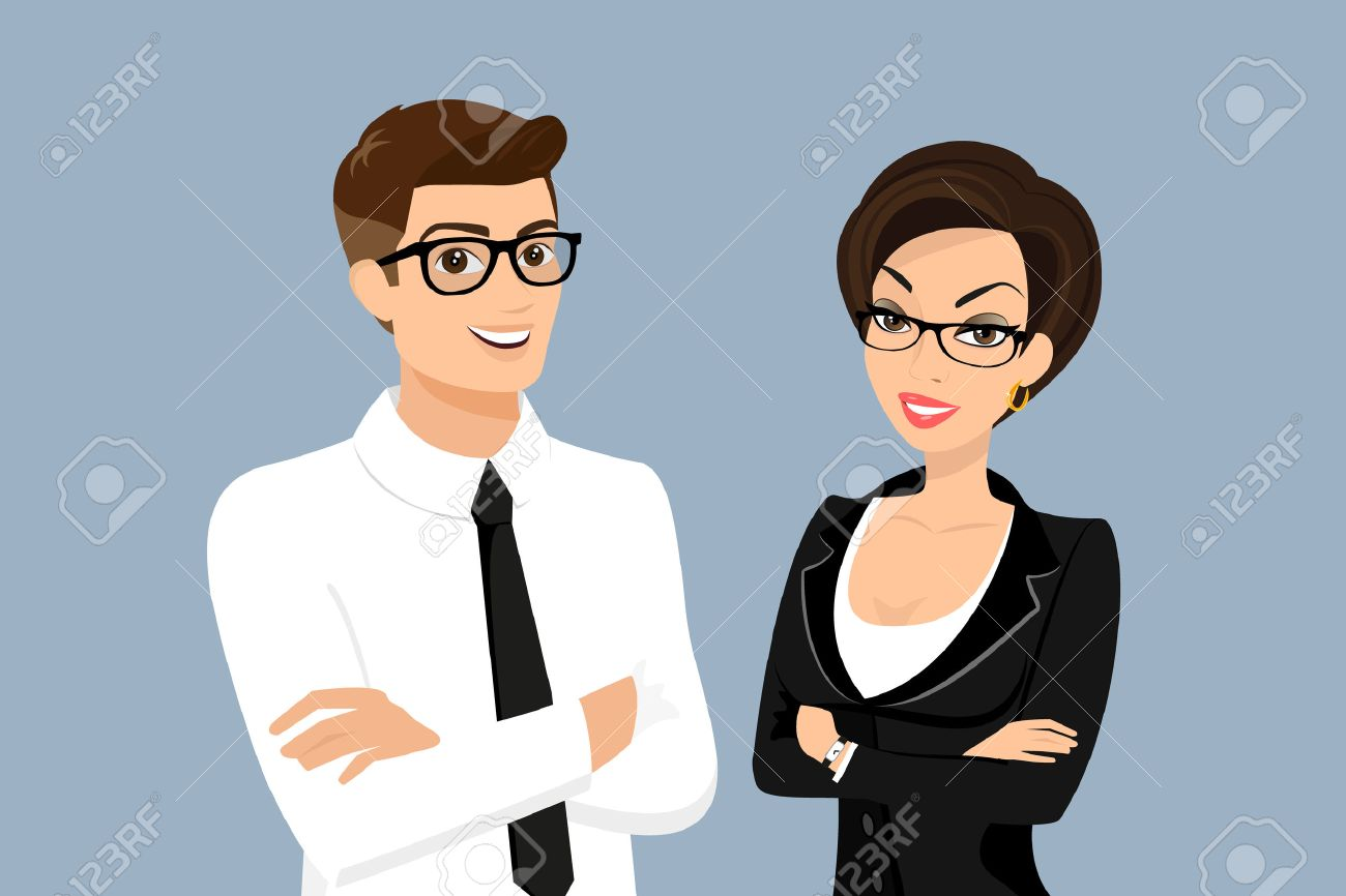 Business man and woman isolated on blue background - 31297103