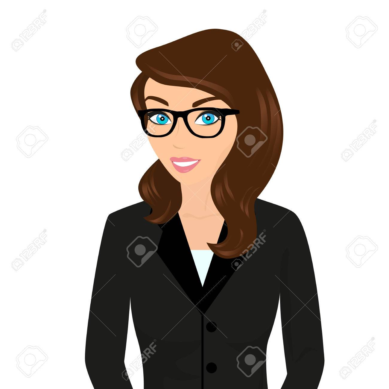 Business lady wearing brown hair and modern glasses isolated on white stock vector 31445350