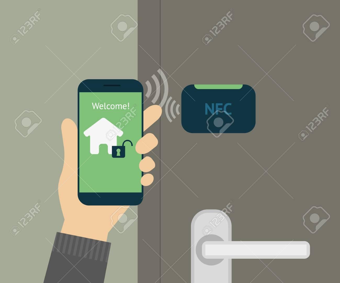 illustration of mobile unlocking home door via smartphone. - 31814220