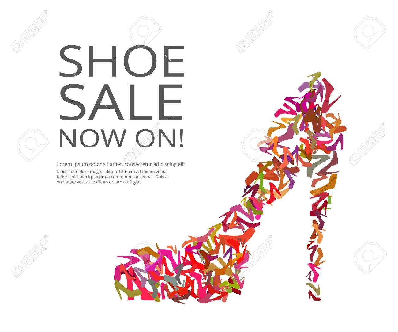 Fashion Poster Of Women Multi Color Shoes On White Background. Text  Outlined Stock Vector    Fashion Poster Design