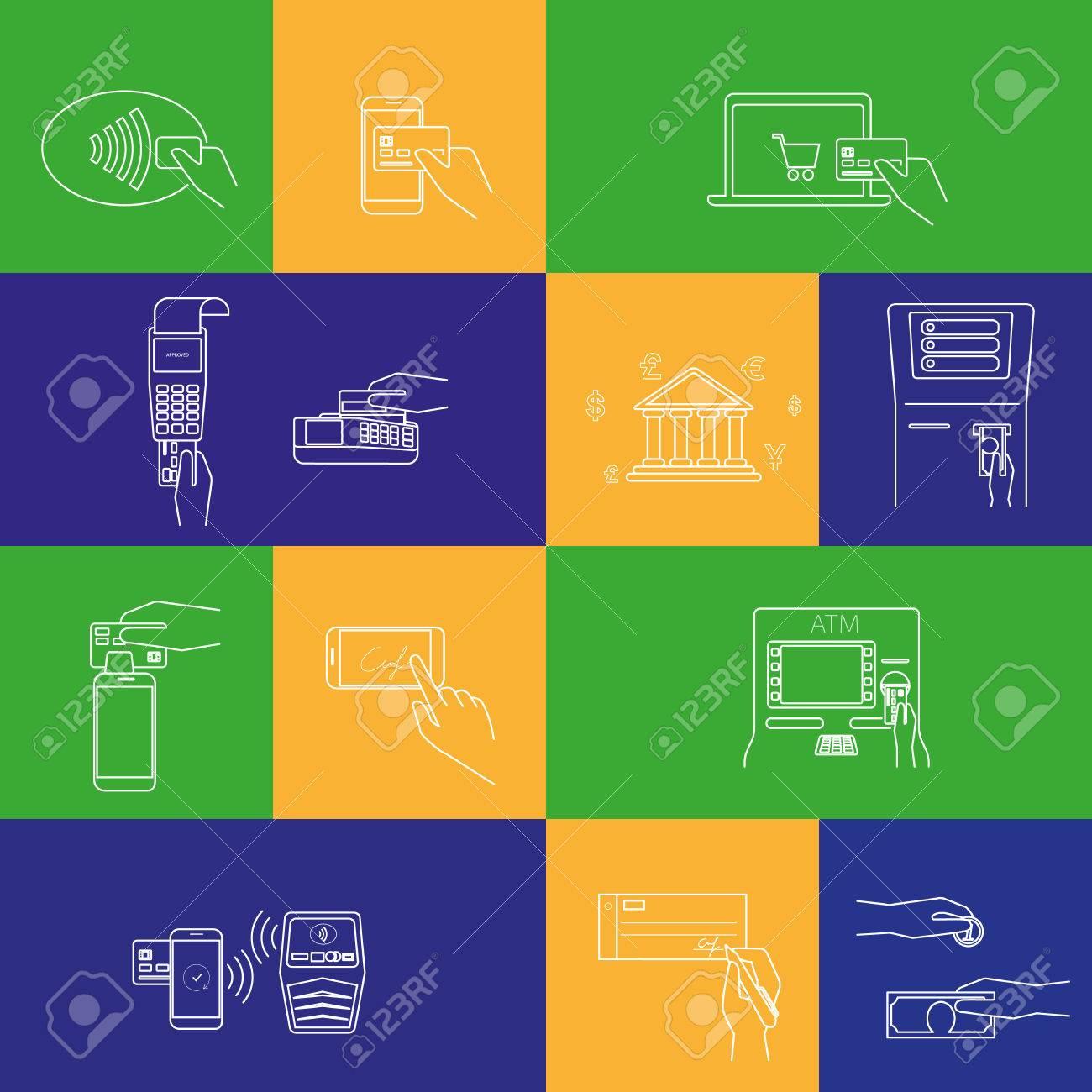 82f4c0f7fe05 Contorno concepto ilustraciones vectoriales conjunto de métodos de pago