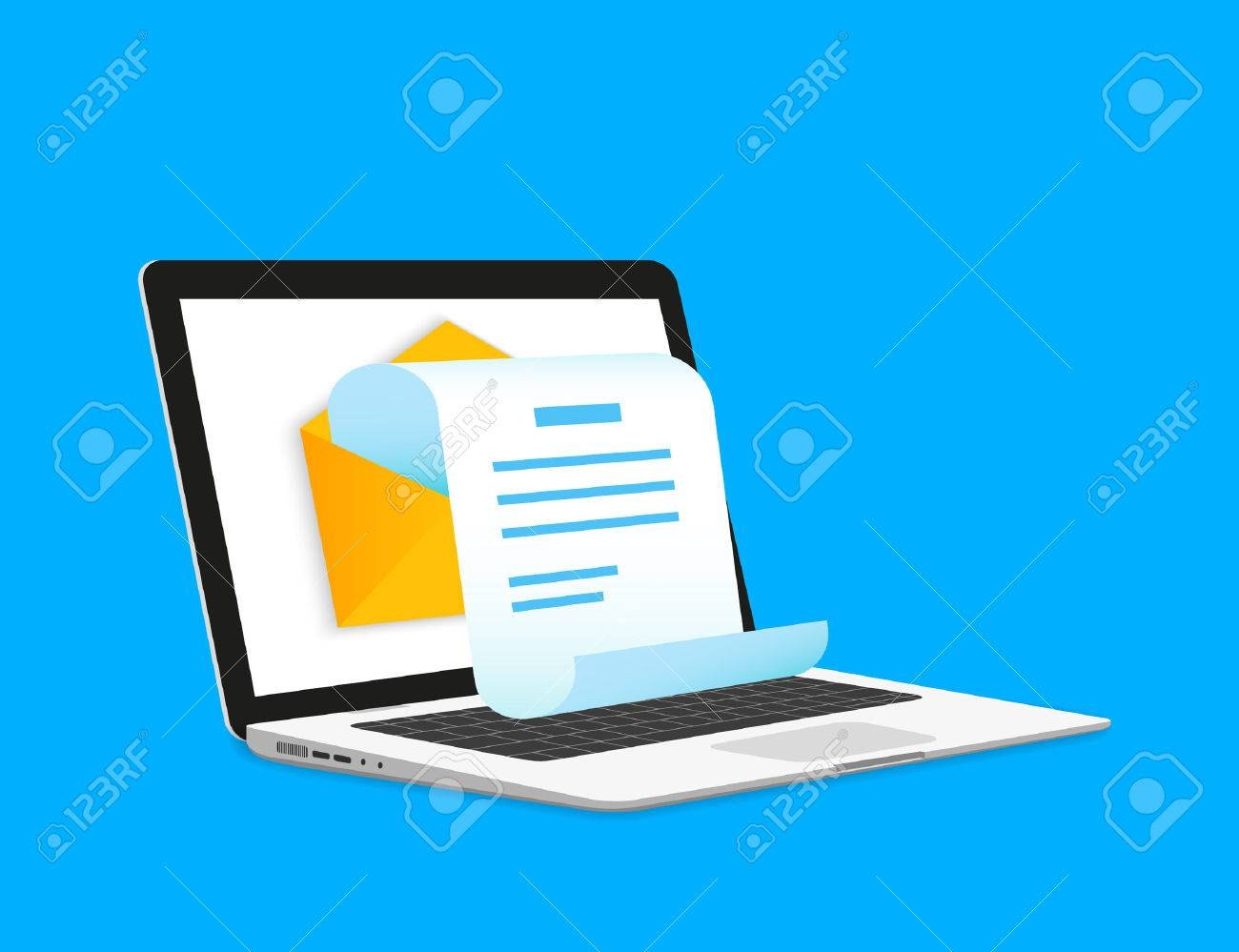 Newsletter illustration with laptop isolated on blue - 36148606