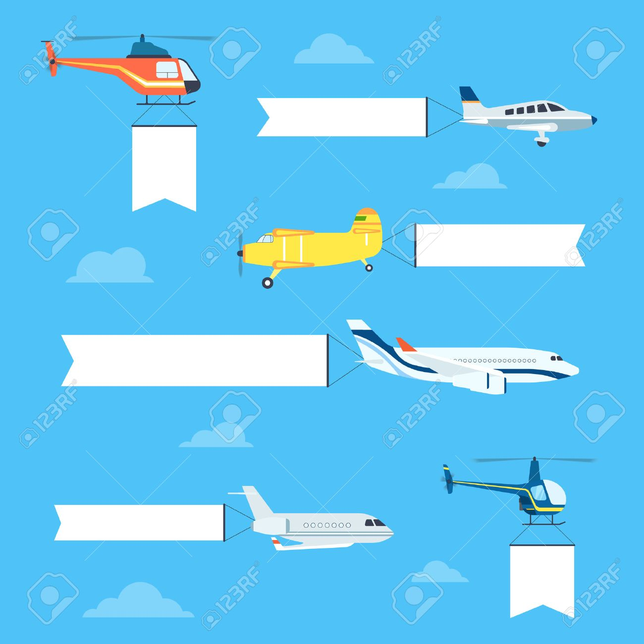 flat airplanes and helicopters set with white ribbon for text