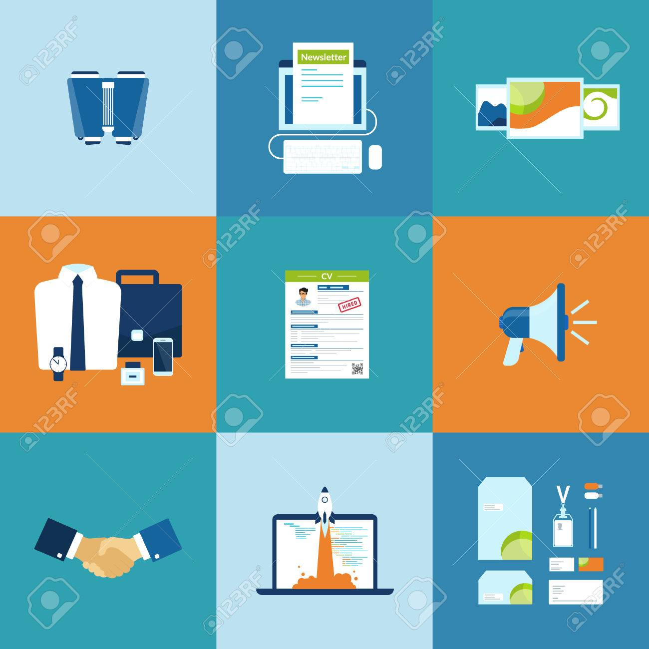 Business Process Icons Set Of Newsletter, Portfolio, Cv, Promotion ...
