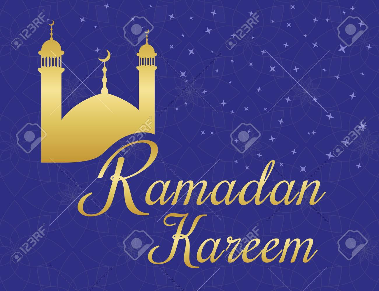 Ramadan Kareem Greetings Poster With Gold Mosque On Violet