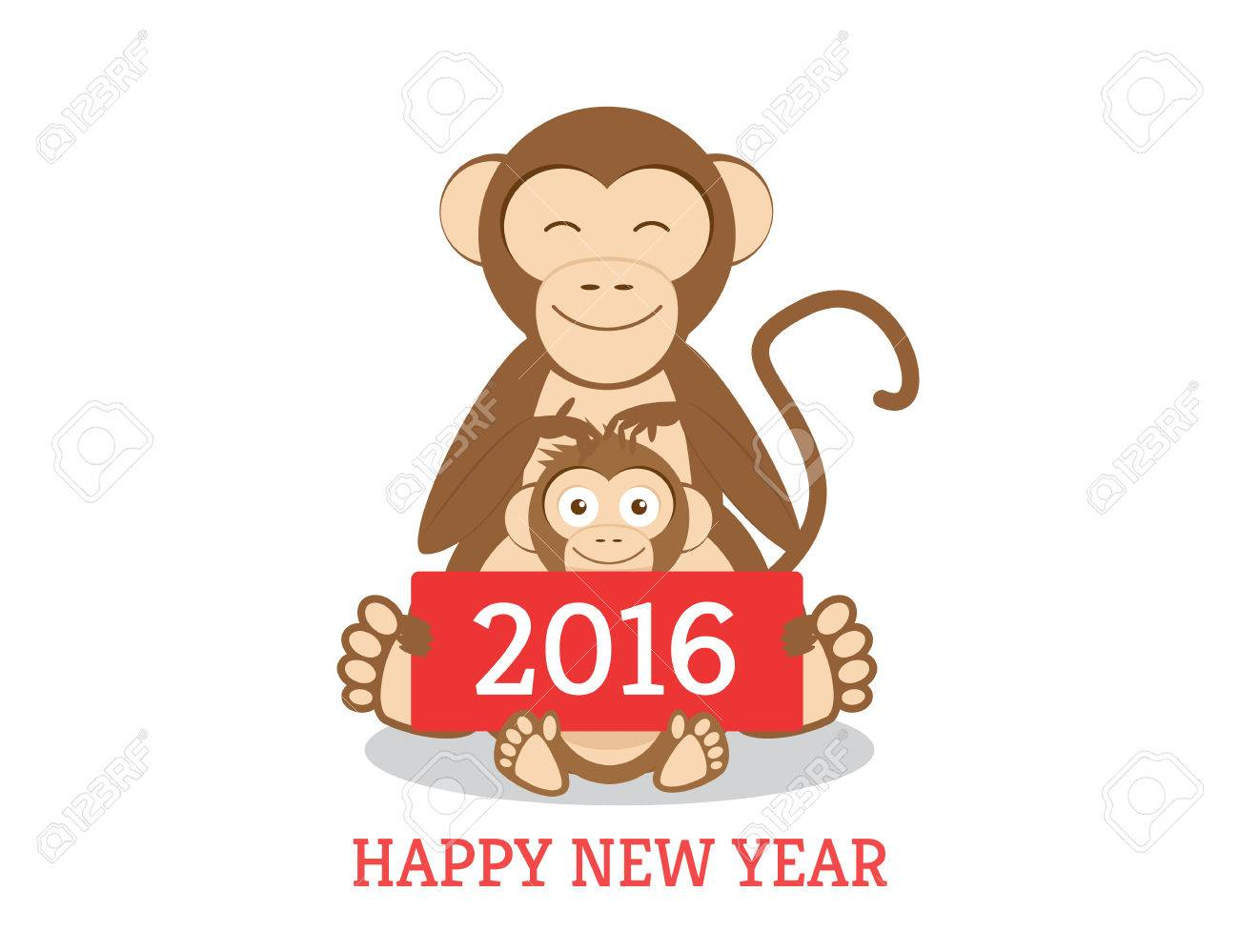Funny Chimpanzees Mom And Son With New Year Greetings Banner ...