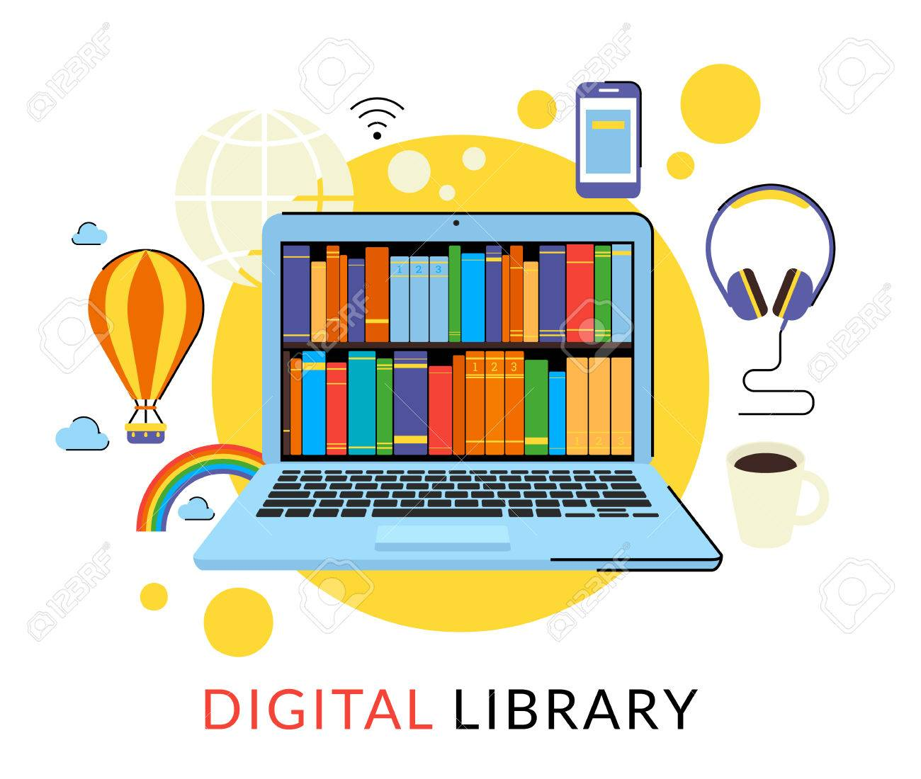 Flat Contour Illustration Of Laptop With Digital Library In The.. Royalty  Free Cliparts, Vectors, And Stock Illustration. Image 44228691.