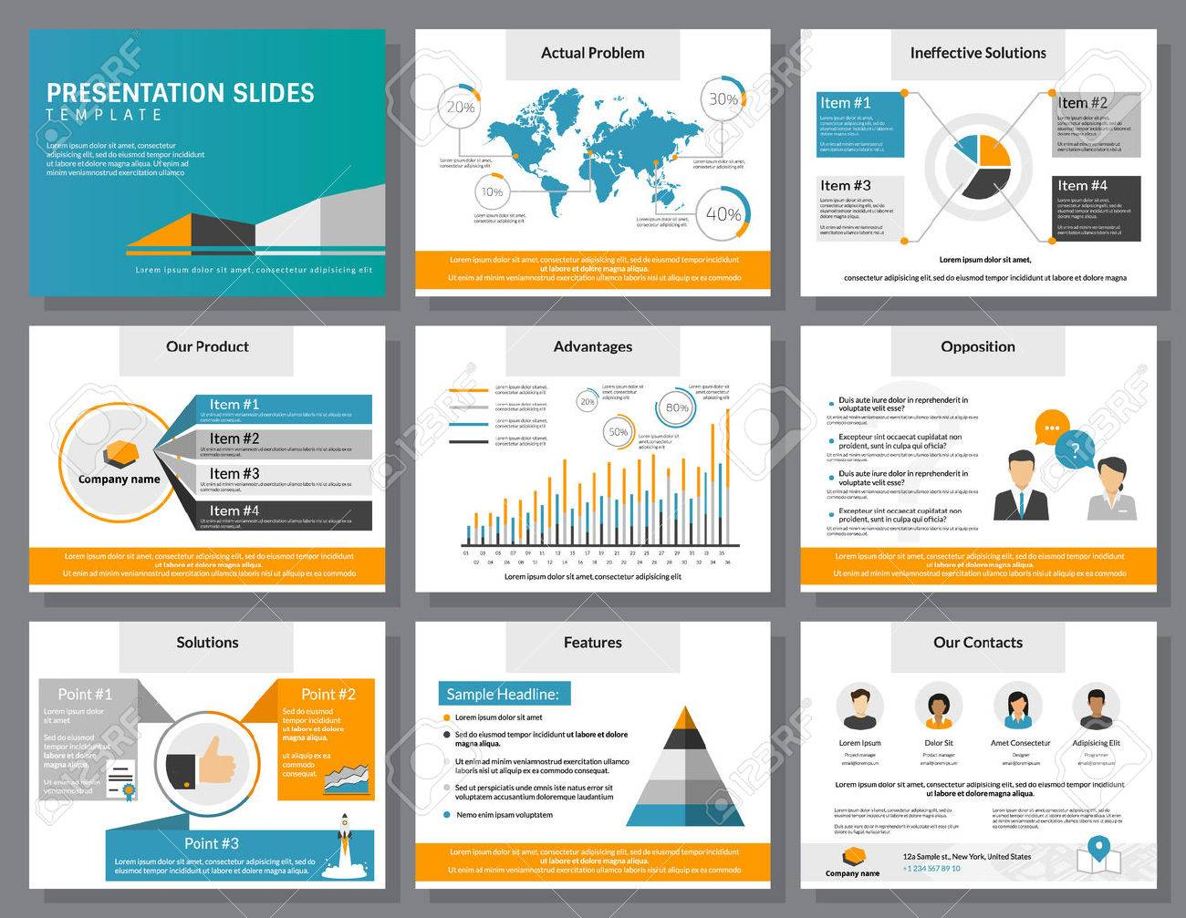 business infographics presentation slides template with flat