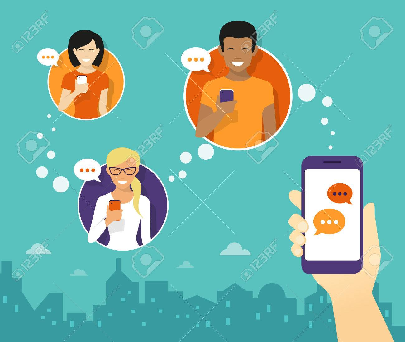 Human hand hold a smartphone and sending messages to friends via messenger app. Flat illustration - 47326055