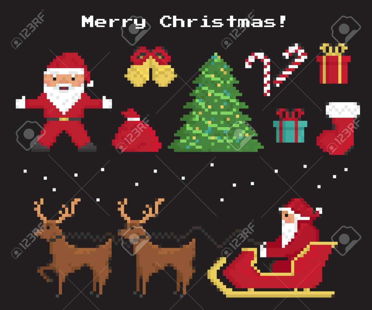 Pixel Symboles De Noël Mis Du Père Noël Arbre De Noël Chaussette Rouge Avec Des Cadeaux Et Des Bonbons Deux Rennes 8 Bits Avec Santas Traîneau
