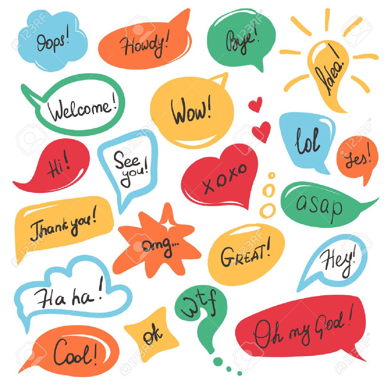 Hand drawn speech bubbles and stickers set with handwritten short messages and friendly phrases isolated on white - 48959327