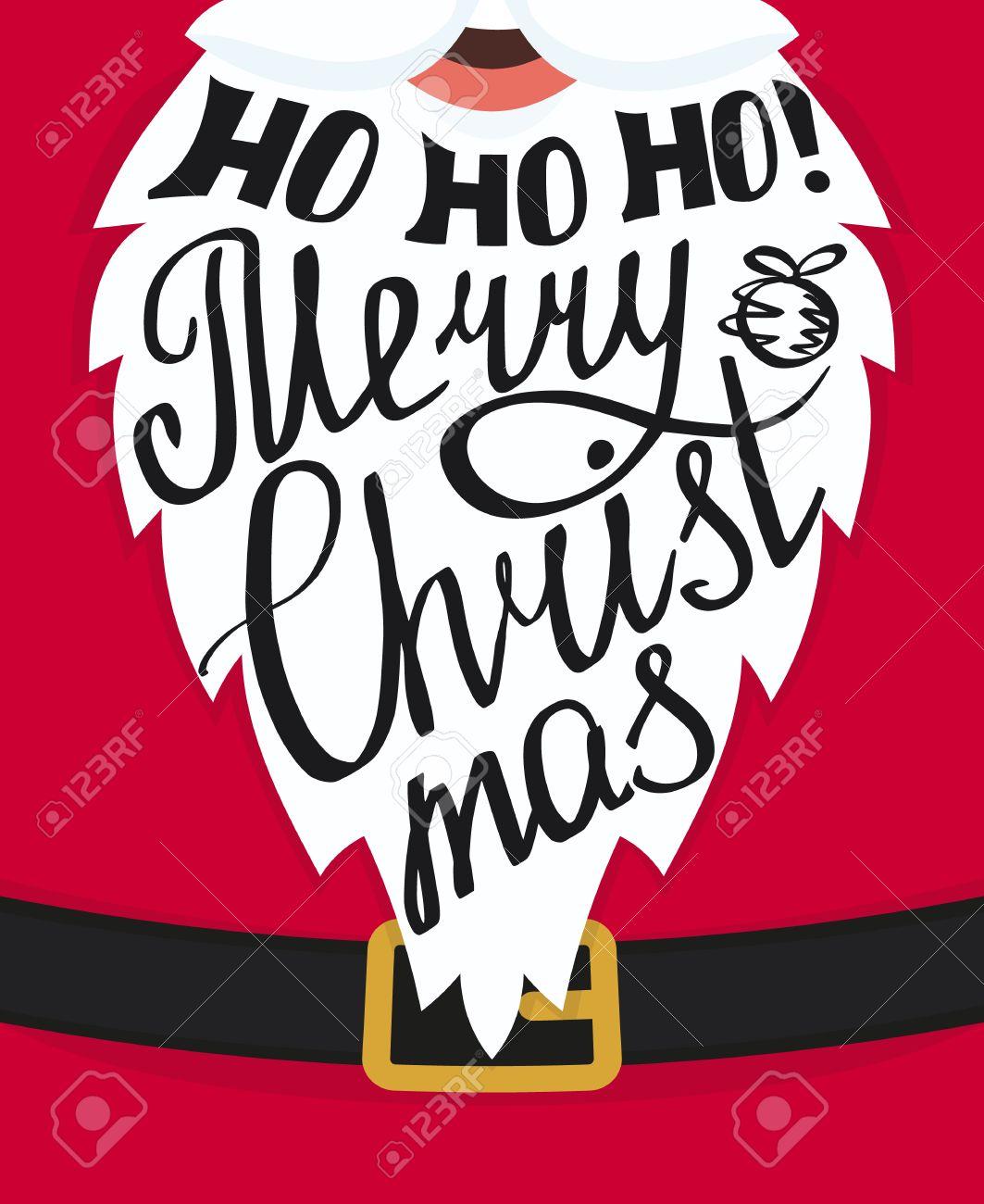 Ho Ho Ho Merry Christmas Handmade Lettering On The Santa Claus ...