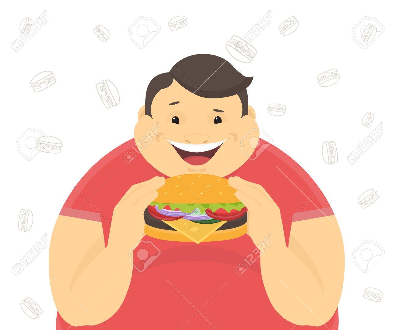 Happy fat man eating a big hamburger. Flat concept illustration of bad habits isolated on white background with contour burger symbols - 50067863