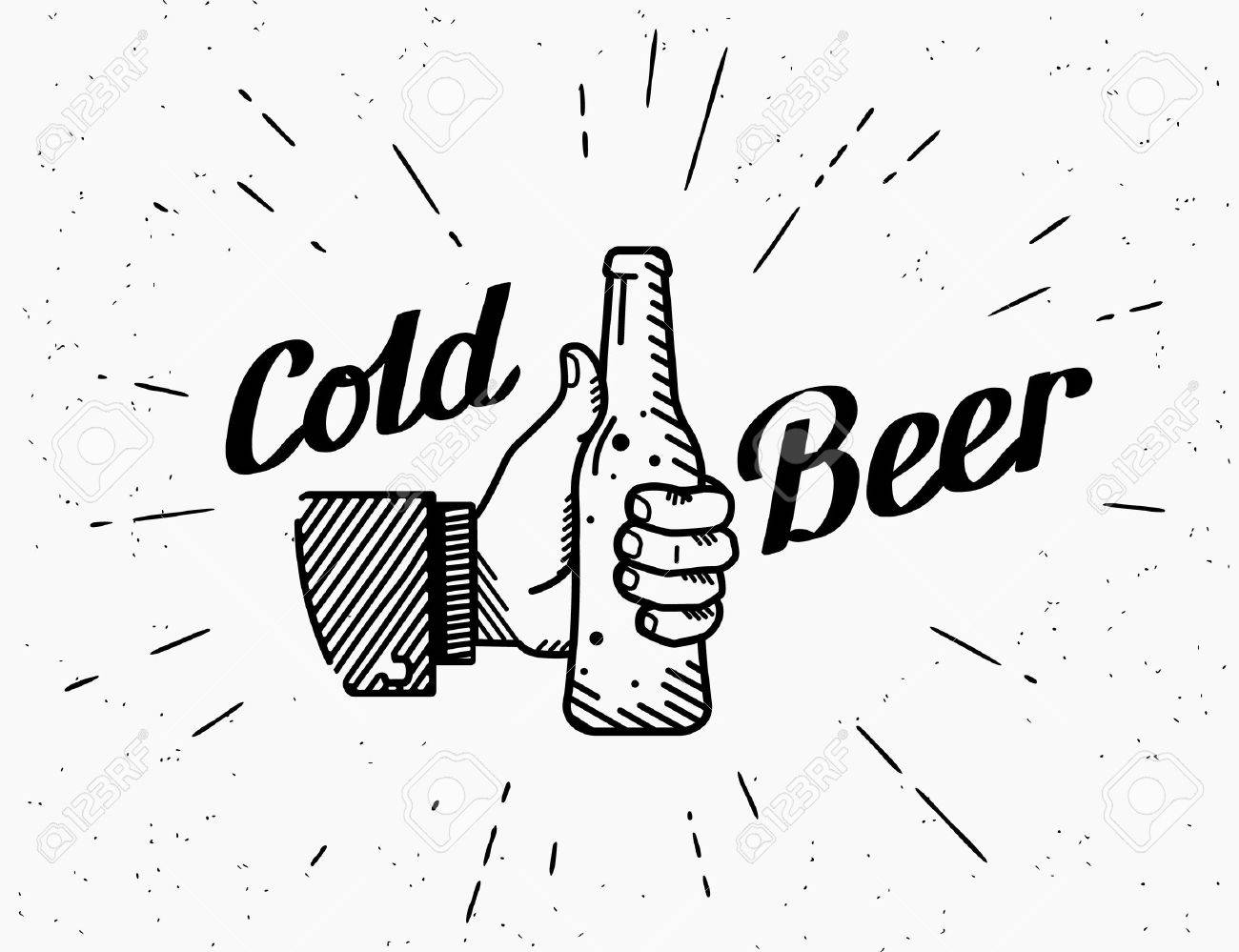 Thumbs up symbol icon with cold beer bottle. Retro fashioned illustration of human hand holds beer bottle with handwritten lettering text on grunge textured background - 51292522