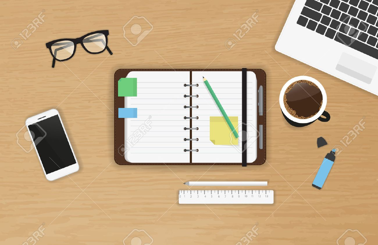 Realistic work desk organization with open diary and stickers for notes on the wooden textured table. Top view with cup of coffee, laptop, smartphone and pencil to write note and remarks - 51306450