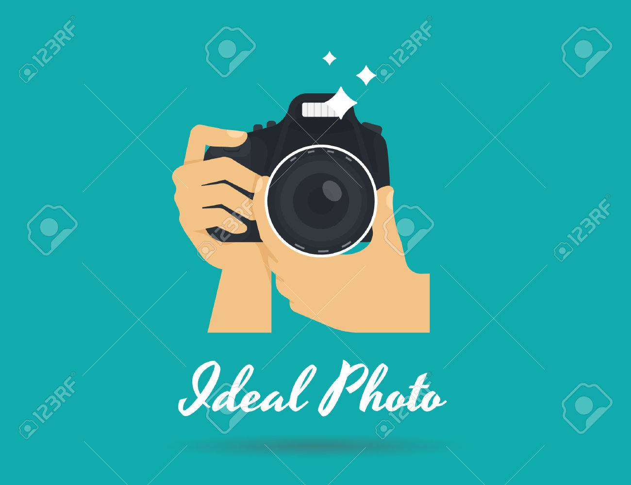 Photographer hands with camera icon or template. Flat illustration of lens camera shooting macro image with flash and text ideal photo - 51520468