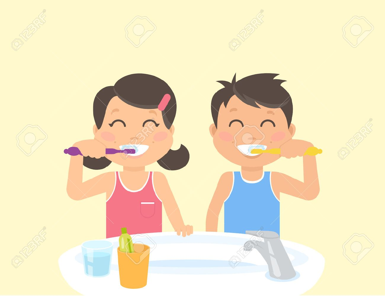 Happy kids brushing teeth standing in the bathroom near sink. Flat illustration of children teeth care and healthy lifestyle and hygiene - 51520459