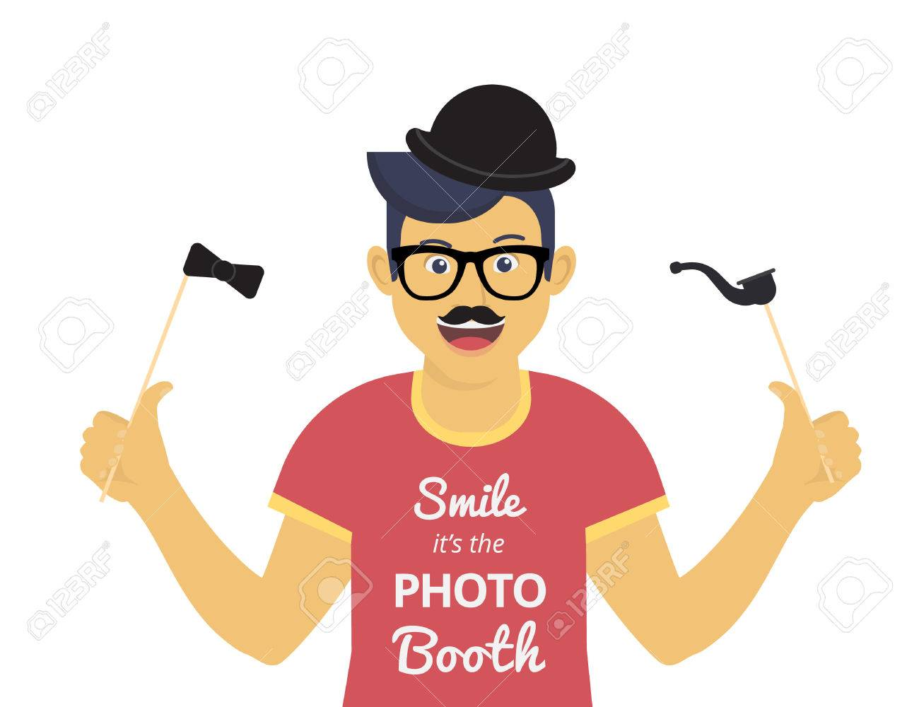 Happy guy enjoys photography with photo booth elements such as mustache, glasses and black hat. Isolated character on white background for motivation and inspirational poster, invitations to the event and banners - 55640174