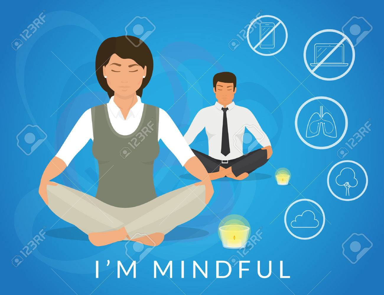 Office people sitting in calm lotus pose and relaxing looking at burning candle. Illistration of woman and man are meditating and thinking about mindfulness after hard working day - 56046477