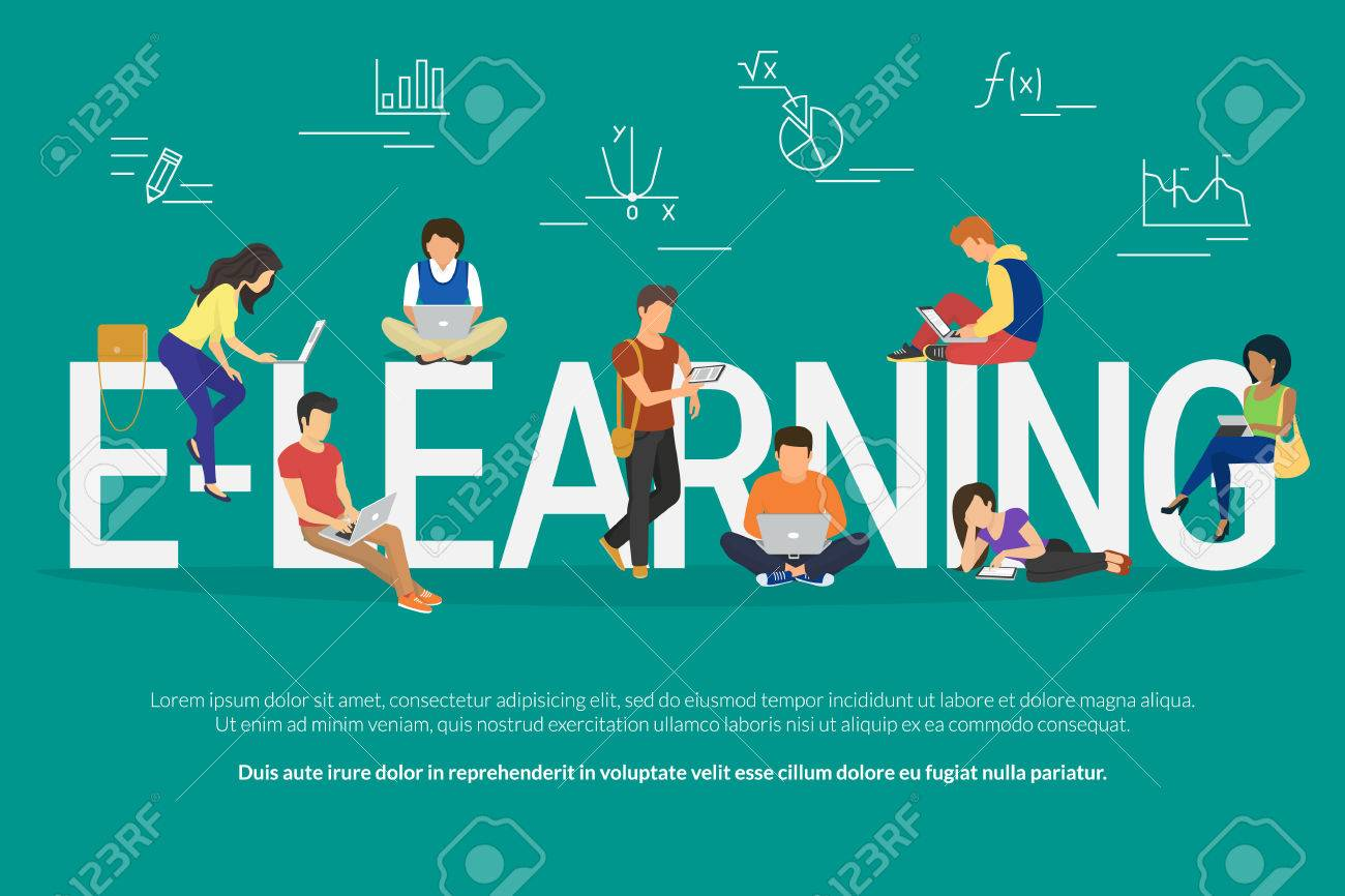 E-learning concept illustration of young various people using laptop, tablet pc and smartphone for distance studying and education. Flat design of guys and young women staying near big letters e-learning - 56046474