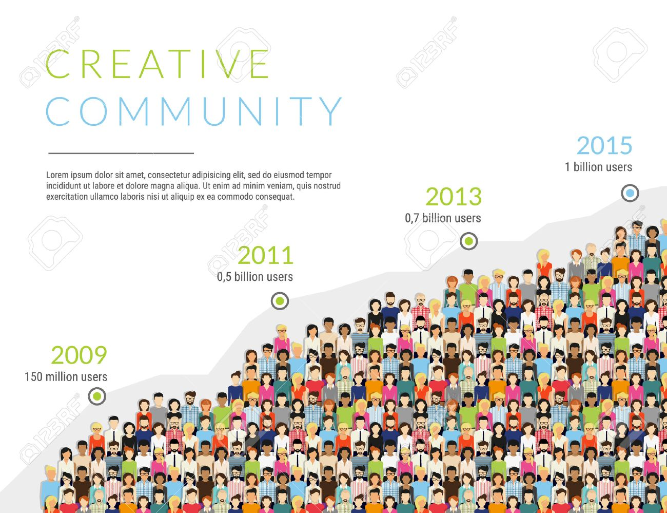 Group of creative people for presentation of community membership or world people population. Flat modern infographic illustration of community members growth timeline isolated on white background - 56697884