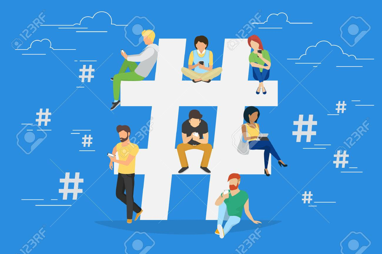 Hashtag concept illustration of young various people using mobile gadgets such as tablet pc and smartphone for hashtags sharing via internet. Flat design of guys and women near big hashtag symbol - 57533202