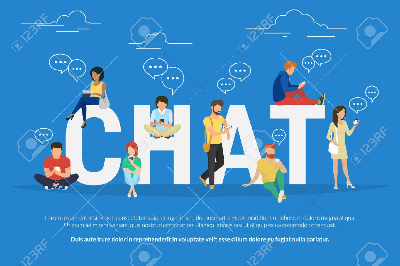 Chat concept illustration of young various people using mobile gadgets such as tablet pc and smartphone for texting messages each other via internet. Flat guys and women standing near big letters chat - 58800782