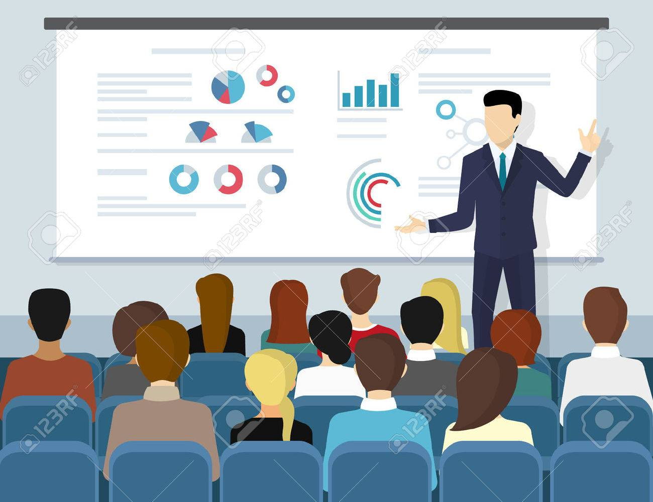 Business seminar speaker doing presentation and professional training about marketing, sales and e-commerce. Flat illustration of public conference and motivation for business audience - 60480441