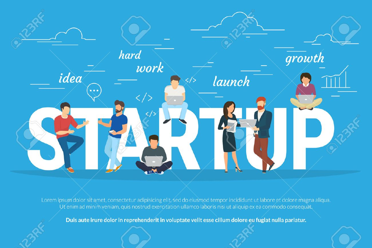 Startup concept flat illustration of business people working as team to launch the business. Young men have an idea, programmer works hard, managers and others promote the project using laptops - 61726378