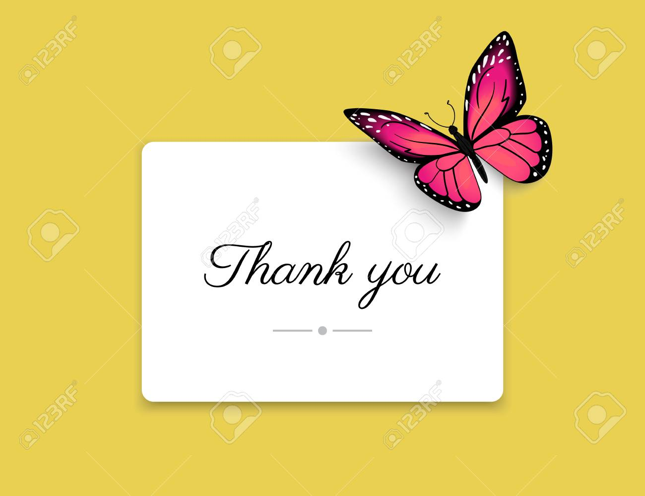 Thank You Blank Card With Beautiful Red Butterfly On Yellow ...