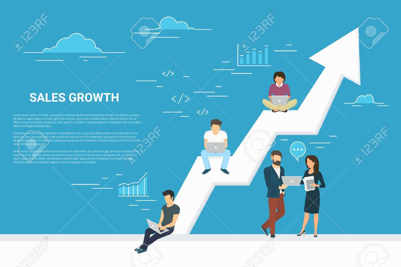Business growth concept illustration of business people working together as team and sitting on the big arrow. Flat people working with laptops to develop business. Blue background with copy space - 61726381