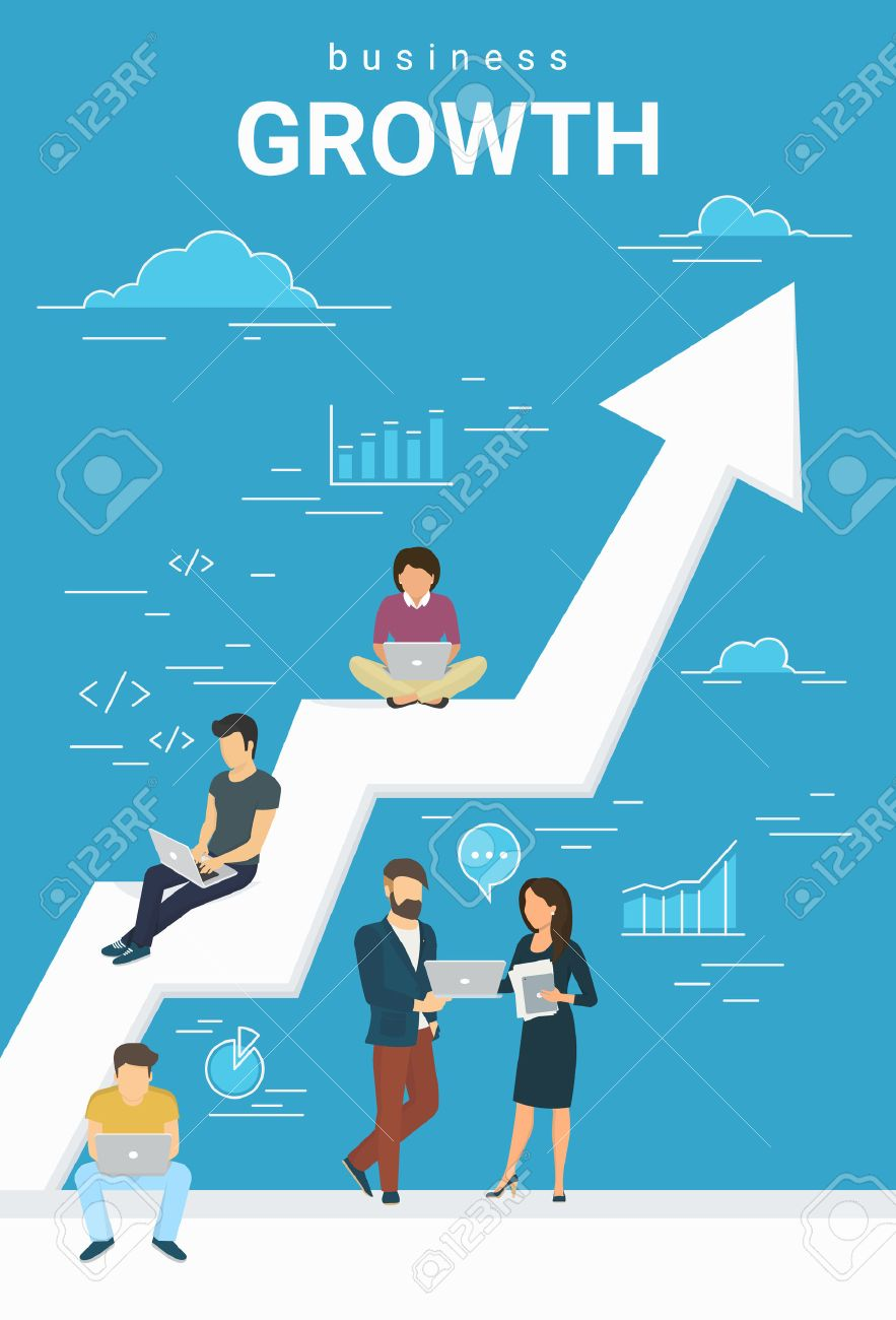 Business growth concept illustration of business people working together as team and sitting on the big arrow. Flat people working with laptops to develop business. Blue business poster - 62268012