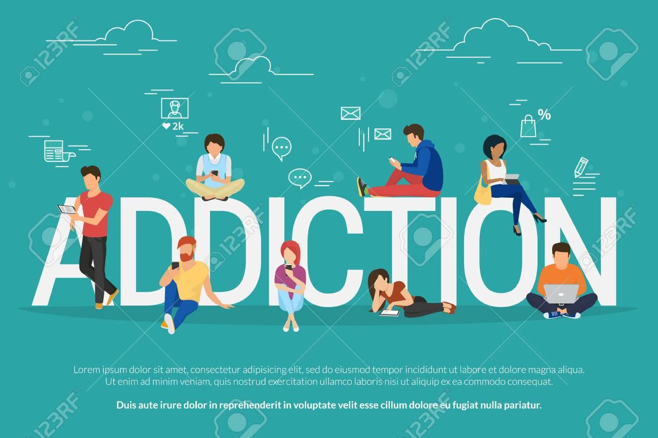 Sucht-Konzept Illustration Von Jungen Menschen Mit Geräten Wie ...