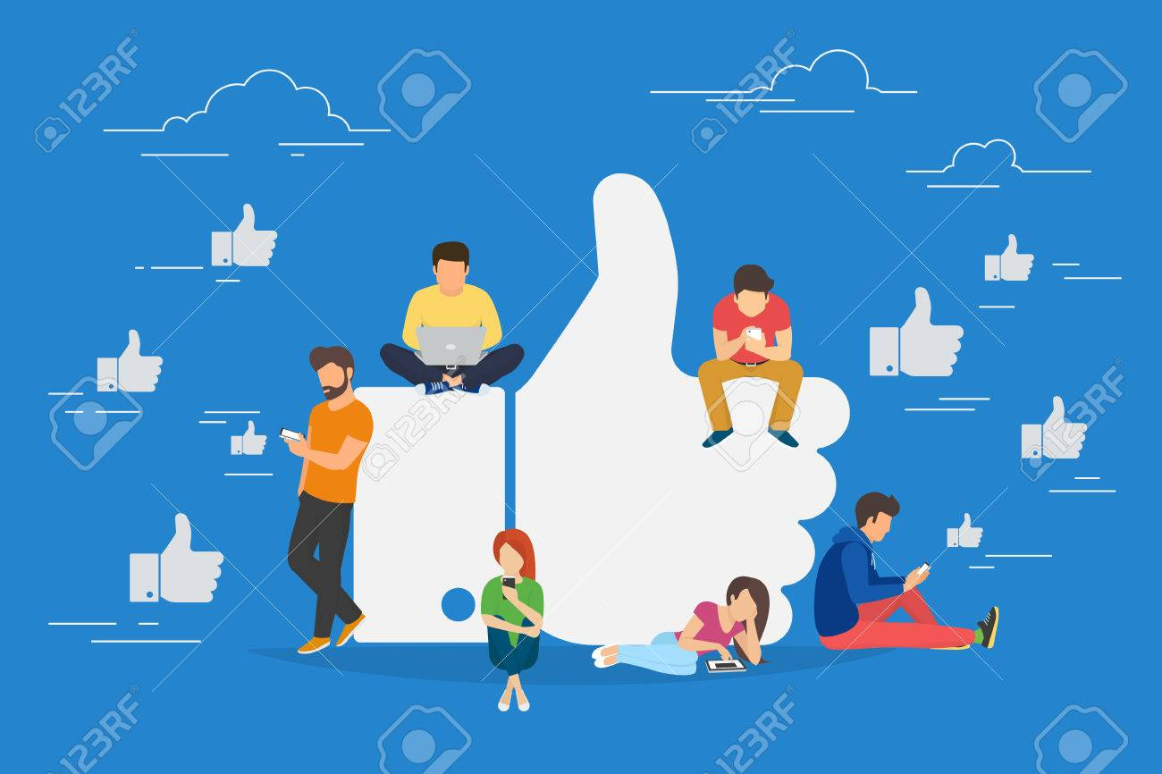 I like it concept illustration of young people using mobile gadgets such as laptop, tablet pc and smartphone for social networking and blogging. Flat design of guys and women near big symbol - 66758706