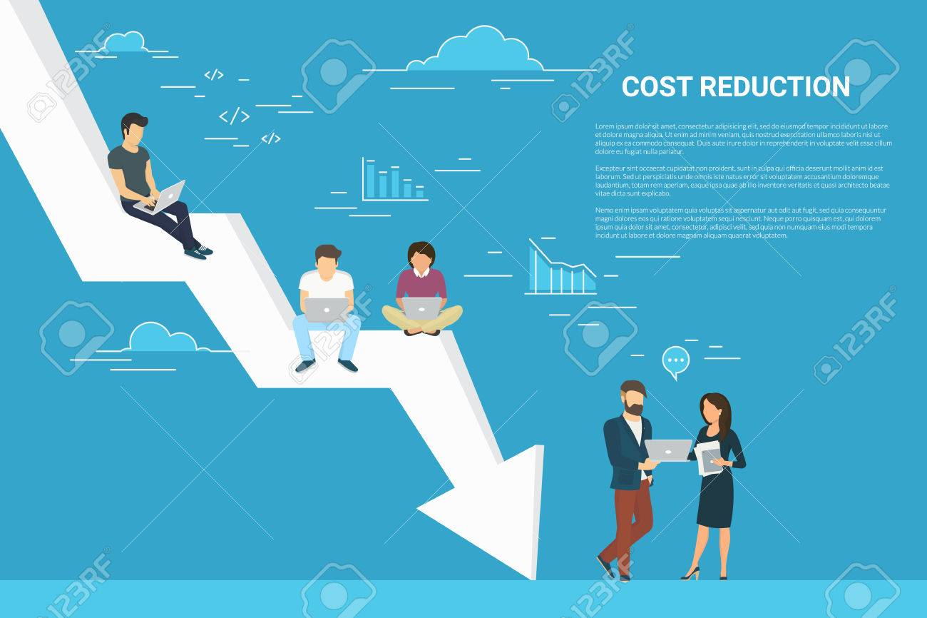 Business cost reduction concept illustration of people working together as team - 80227701