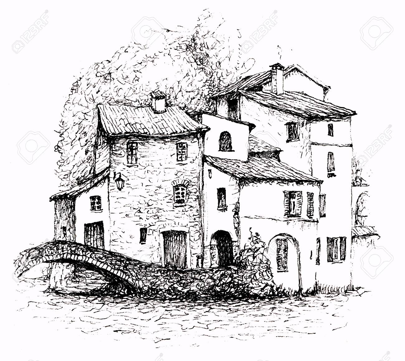 A pen sketch of italian landscape a village on a lake called como in the alps old stone houses with tile roofs trees behind them and a little bridge