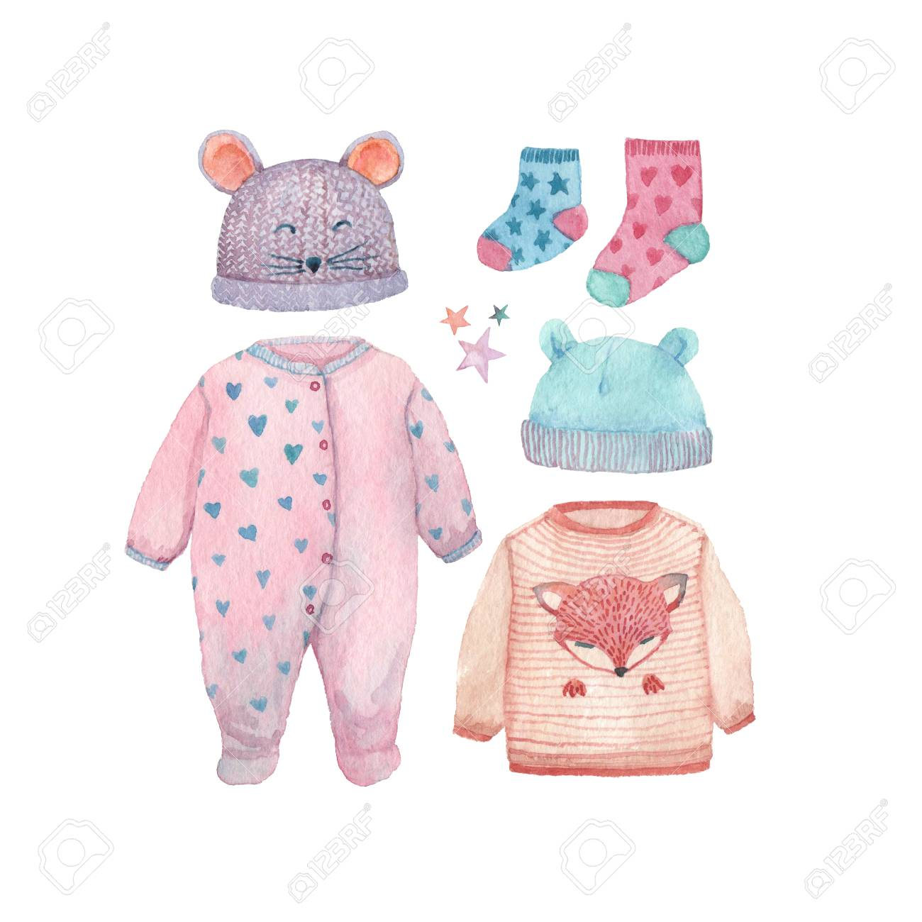 A Set Of Baby Clothes Painted In Watercolor  Romper Suit ecb5d460036