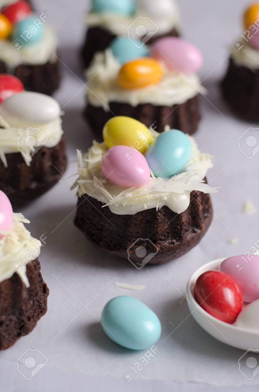 Mini Bundt Cakes Decorated With Chocolate Eggs Easter Dessert Stock