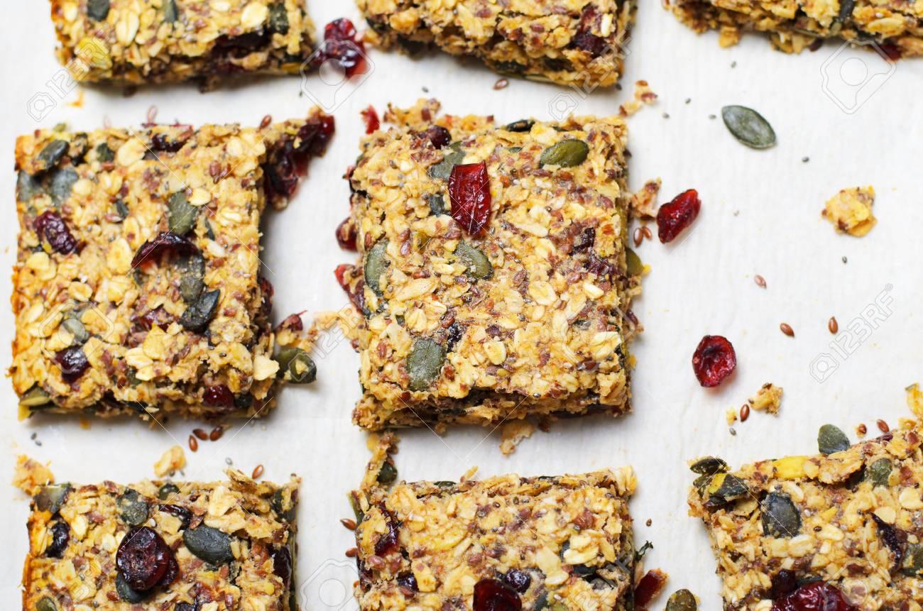 Granola Bars, Healthy Homemade Snack, Superfood Bars with Cranberry,