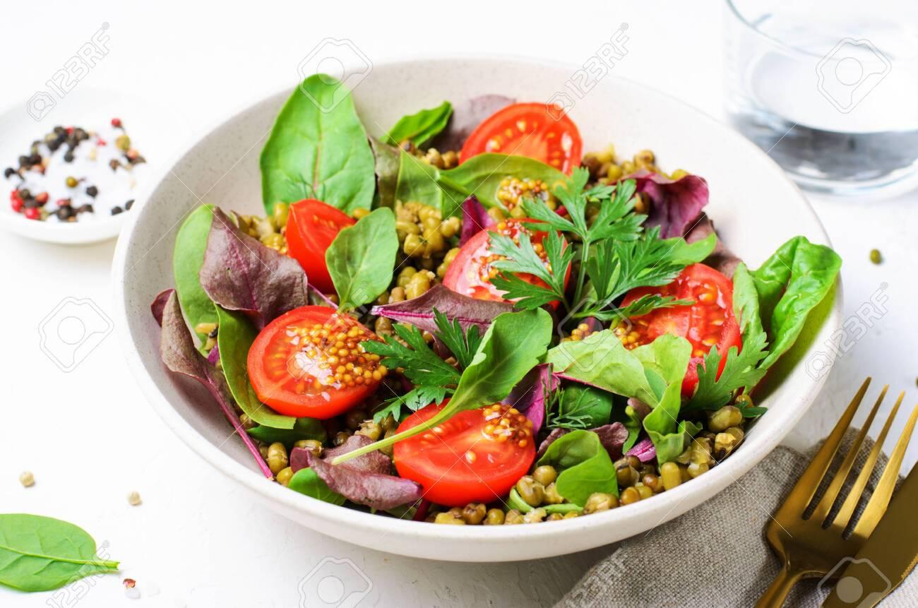 Mung Bean Cherry Tomato Salad in a Bowl, Tasty Vegetarian Food - 128868089