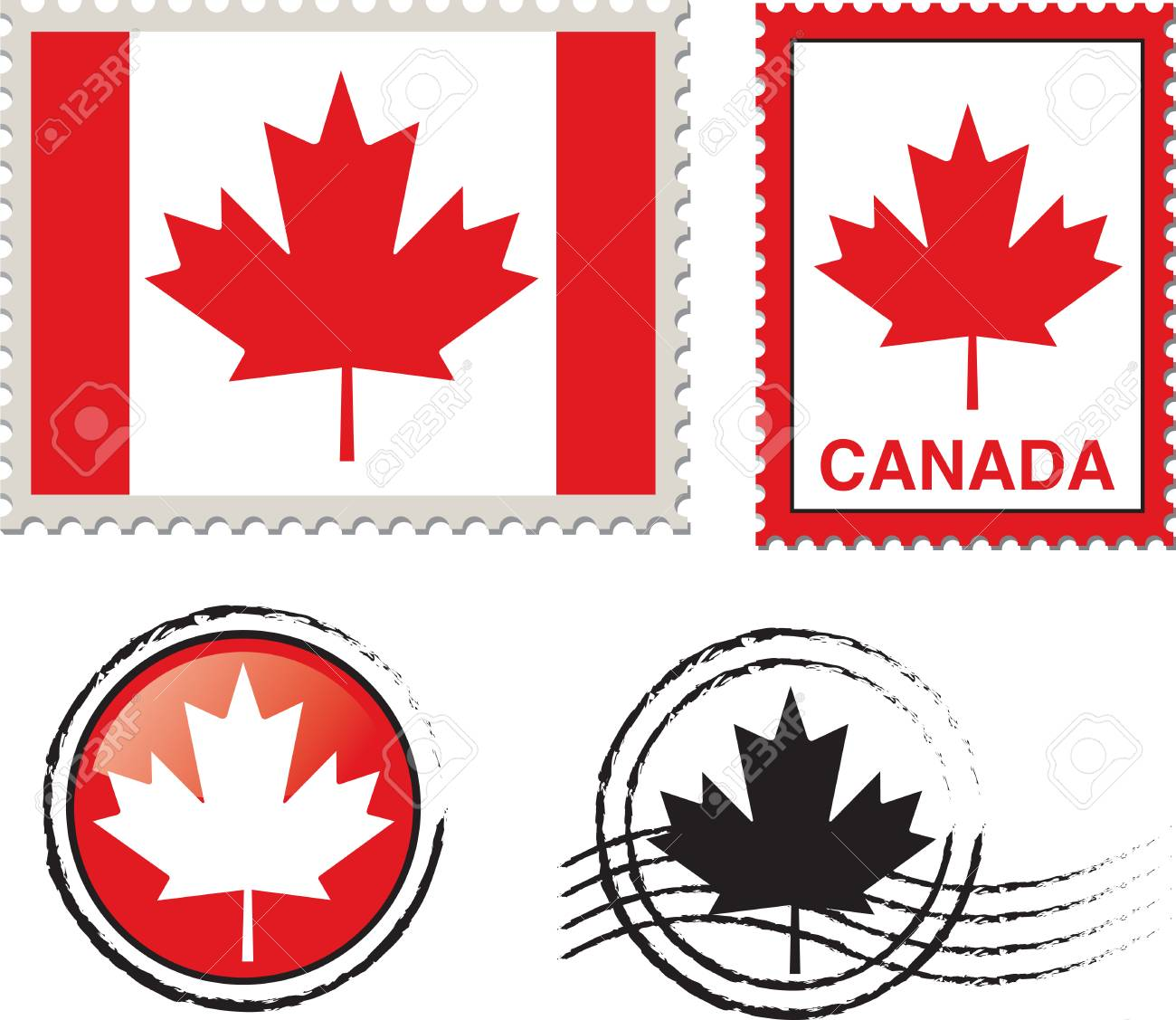 canada flag stamp Stock Vector - 24807884
