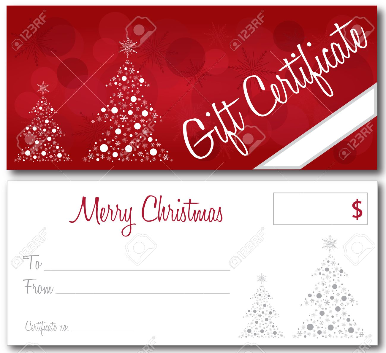 red gift certificate christmas design vector front and back font vector red gift certificate christmas design vector front and back font outline no drop shadow