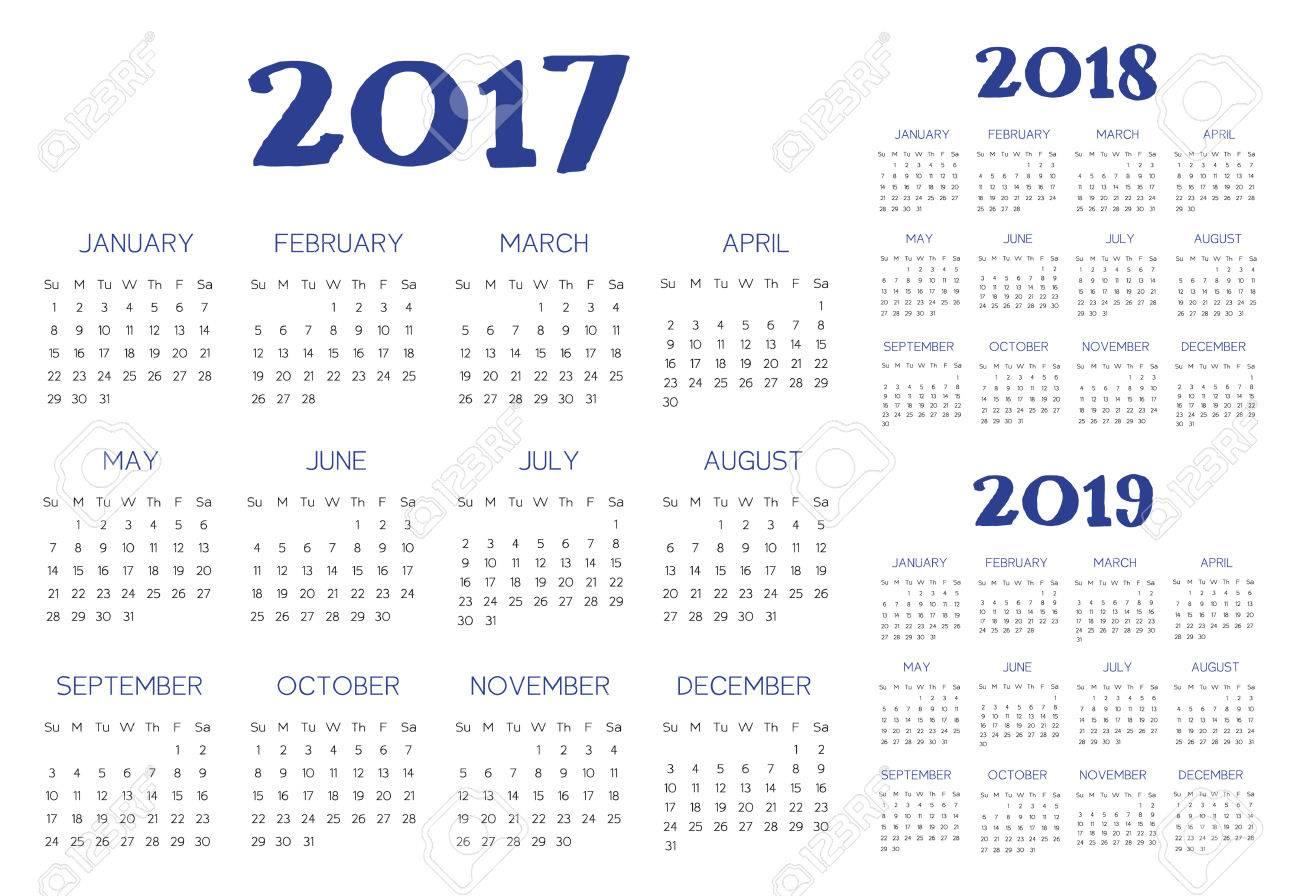 Calendario 2019 English.English Calendar 2017 2018 2019 Vector Blue And Black